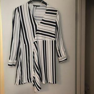 Zara Navy/White Asymmetrical Hem Stretch Dress